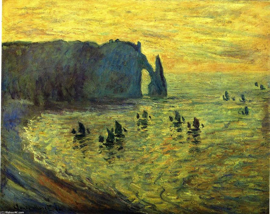 famous painting The Cliffs at Etretat of Claude Monet