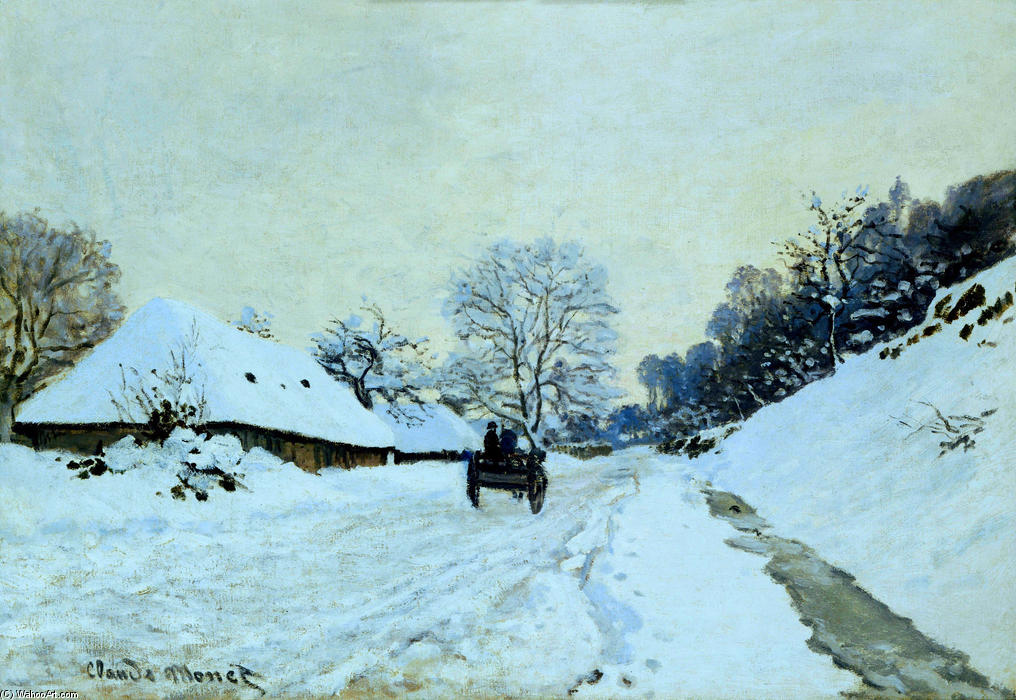 famous painting Cart on the Snow Covered Road with Saint-Simeon Farm of Claude Monet