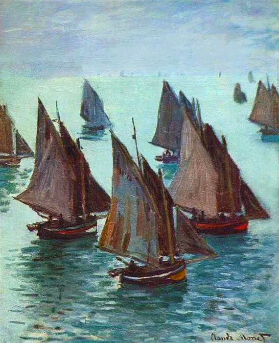 famous painting Fishing Boats, Calm Sea of Claude Monet