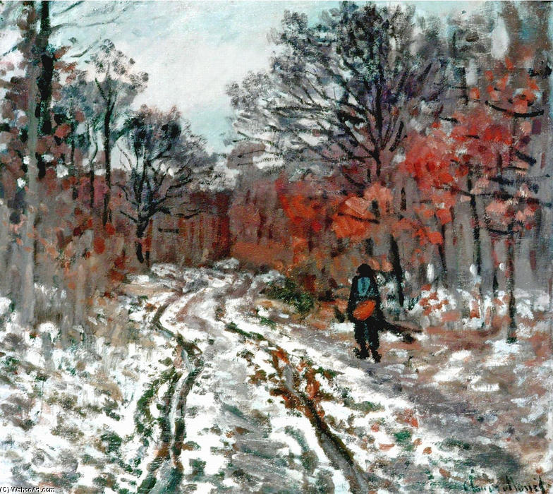 famous painting Path through the Forest, Snow Effect of Claude Monet