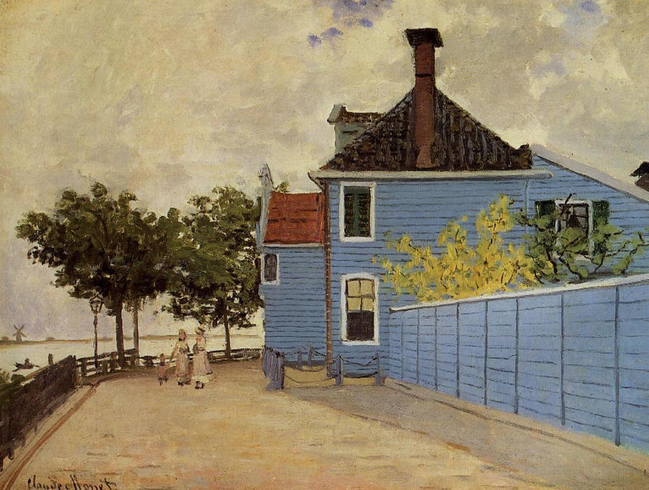 famous painting The Blue House at Zaandam of Claude Monet