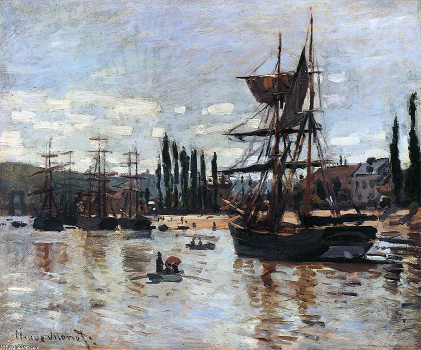 famous painting Boats at Rouen of Claude Monet