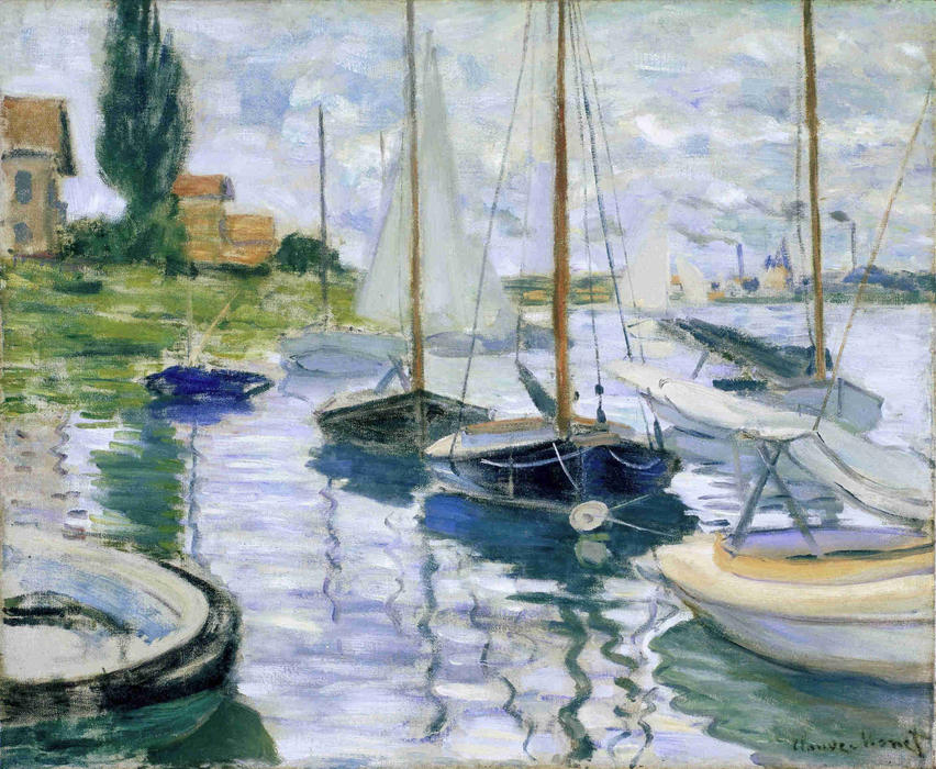 famous painting Boats at rest, at Petit-Gennevilliers of Claude Monet