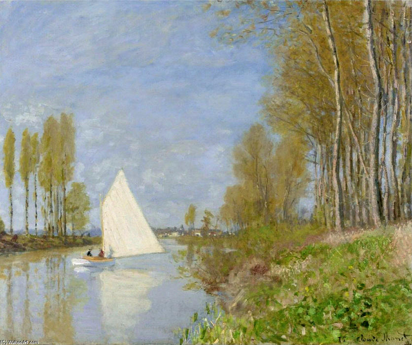 famous painting Small Boat on the Small Branch of the Seine at Argenteuil of Claude Monet