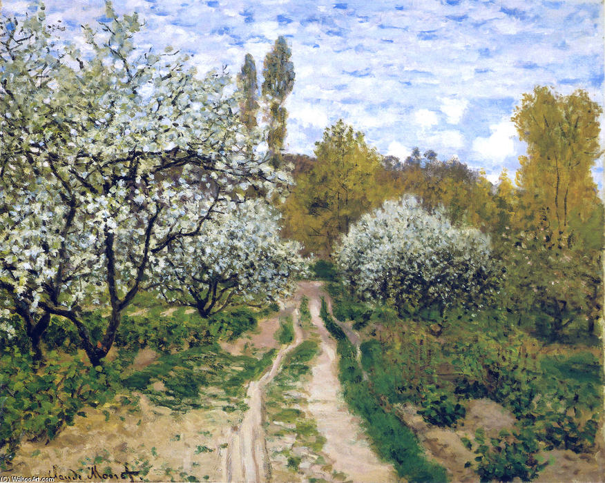 famous painting Trees in Bloom of Claude Monet