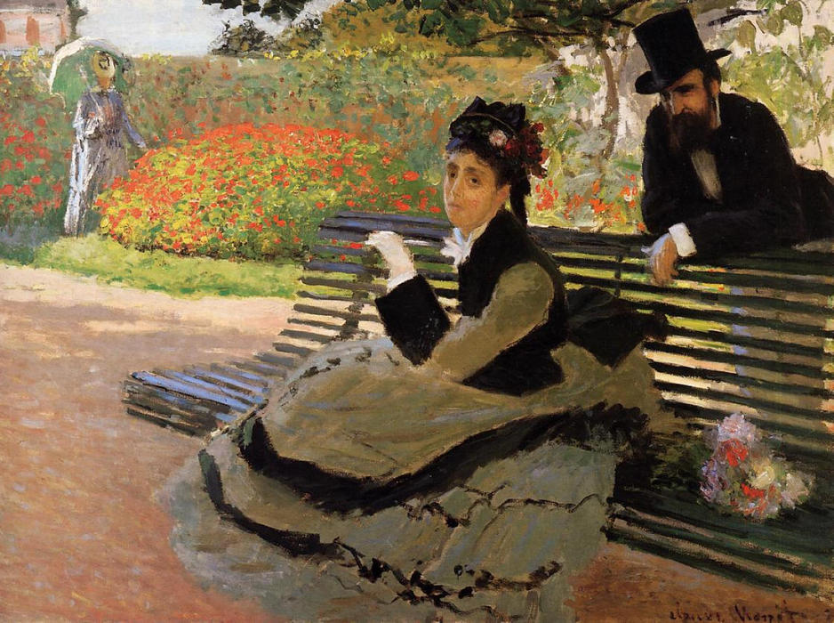 famous painting Camille Monet on a Garden Bench of Claude Monet
