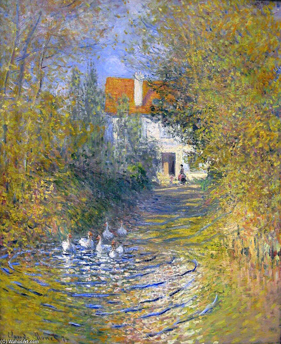 famous painting Geese in the creek of Claude Monet