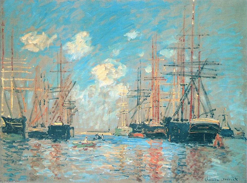 famous painting The Sea, Port in Amsterdam of Claude Monet