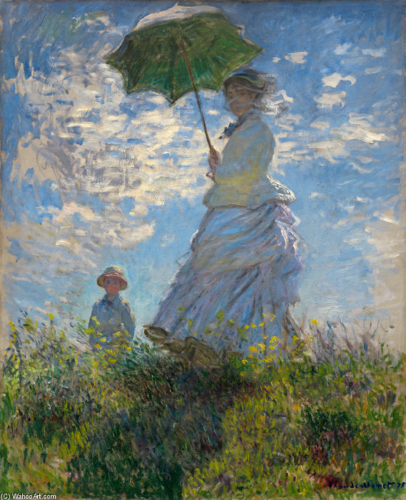 famous painting The Promenade, Woman with a Parasol of Claude Monet