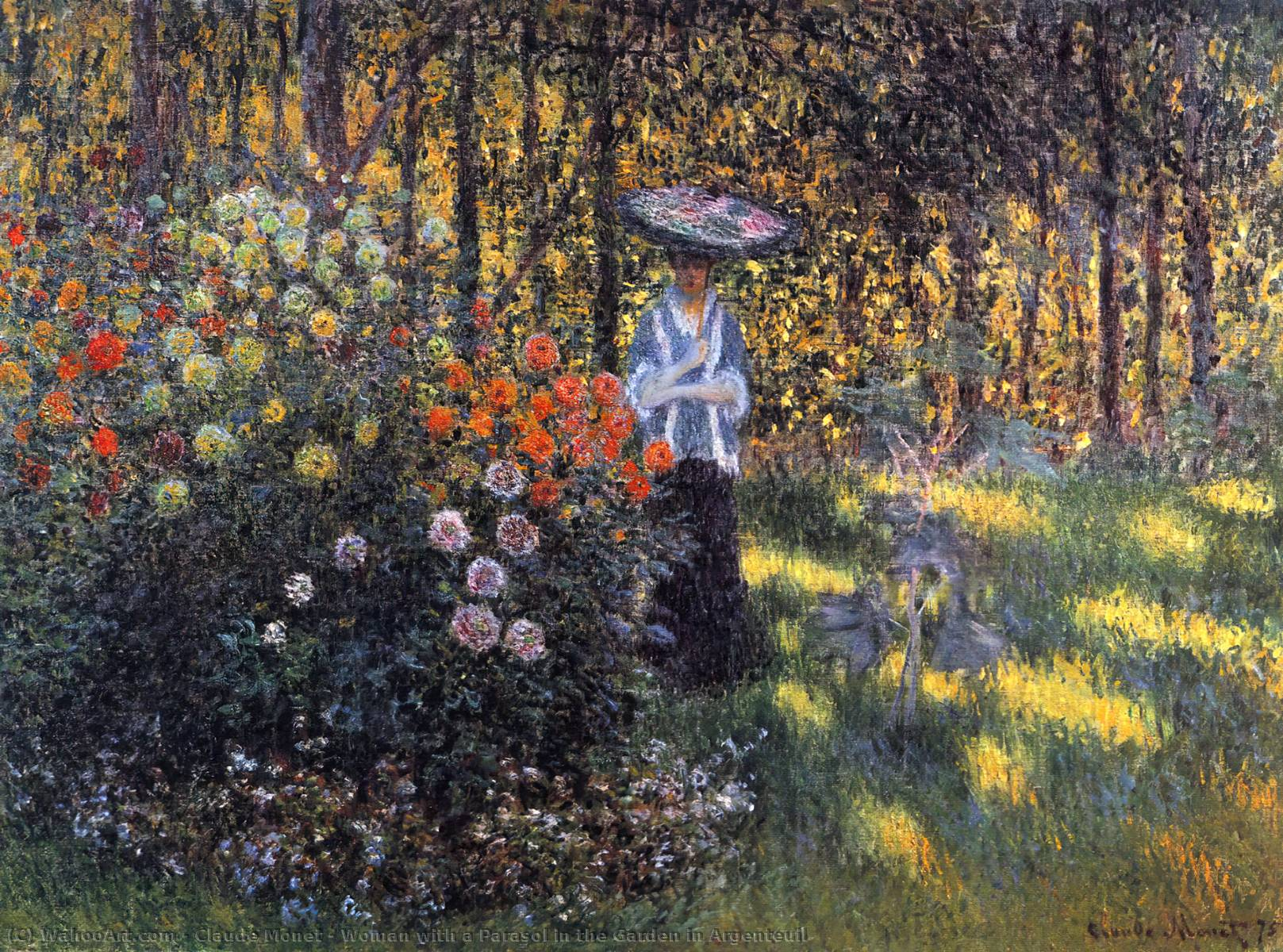 famous painting Woman with a Parasol in the Garden in Argenteuil of Claude Monet