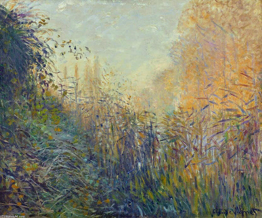 famous painting Study Rushes at Argenteuil of Claude Monet