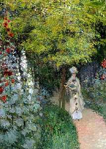 Claude Monet - The Garden, Hollyhocks