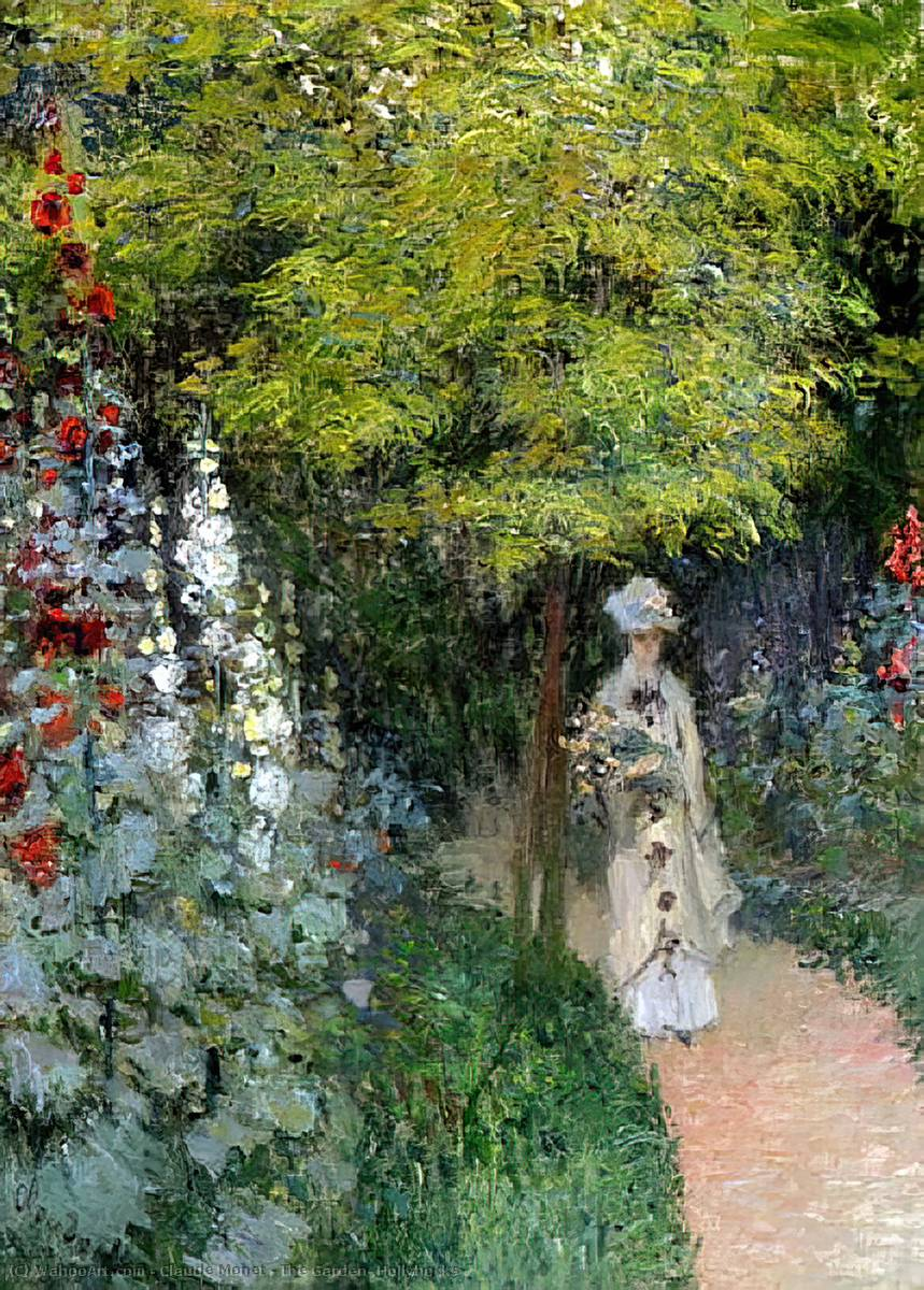 famous painting The Garden, Hollyhocks of Claude Monet