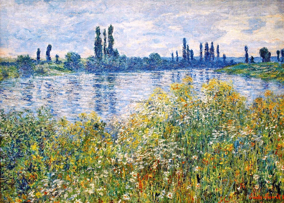 famous painting Flowers on the Banks of Seine near Vetheuil of Claude Monet