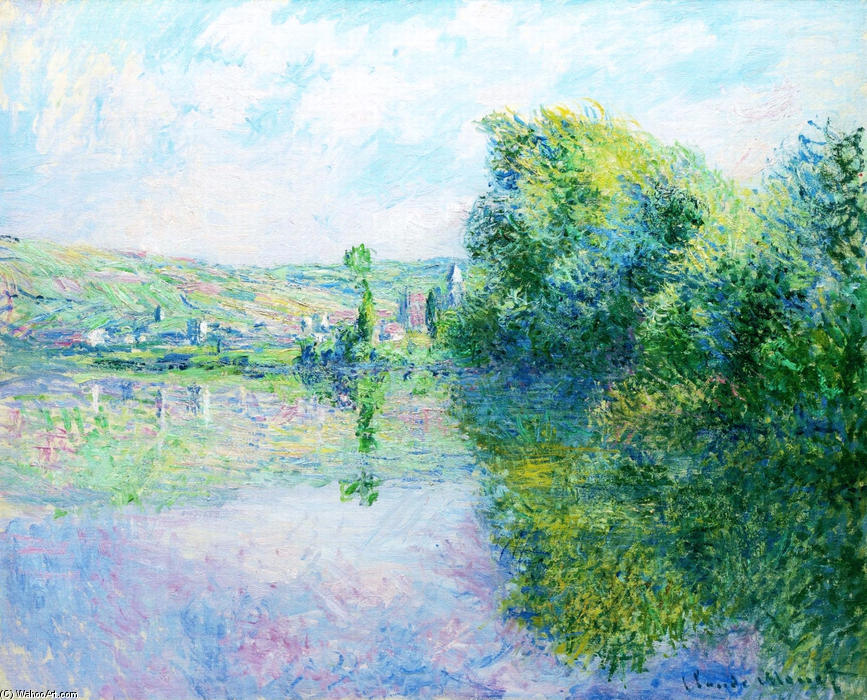 famous painting The Siene at Vetheuil of Claude Monet