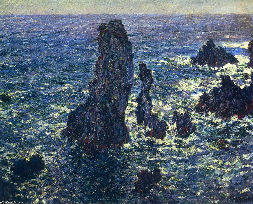 famous painting The Pyramids, Cliffs at Belle-Ile of Claude Monet