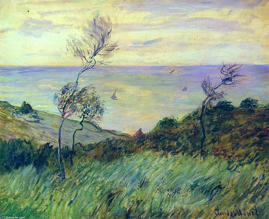 famous painting Cliffs of Varengeville, Gust of Wind of Claude Monet