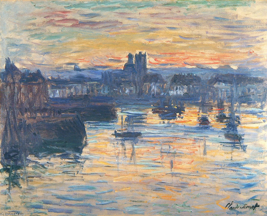 famous painting Port of Dieppe, Evening of Claude Monet
