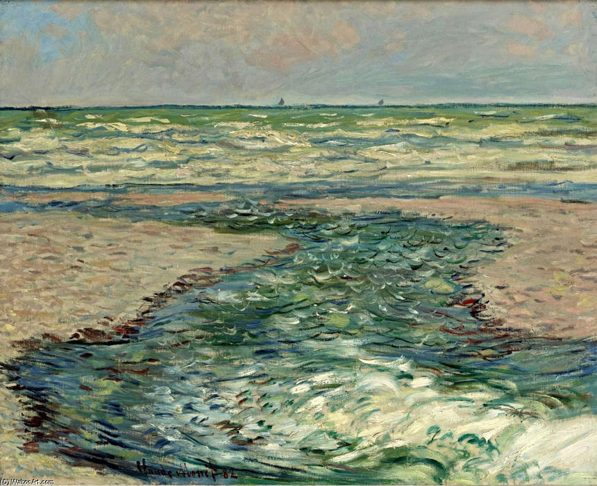 famous painting The Seacoast of Pourville, Low Tide of Claude Monet