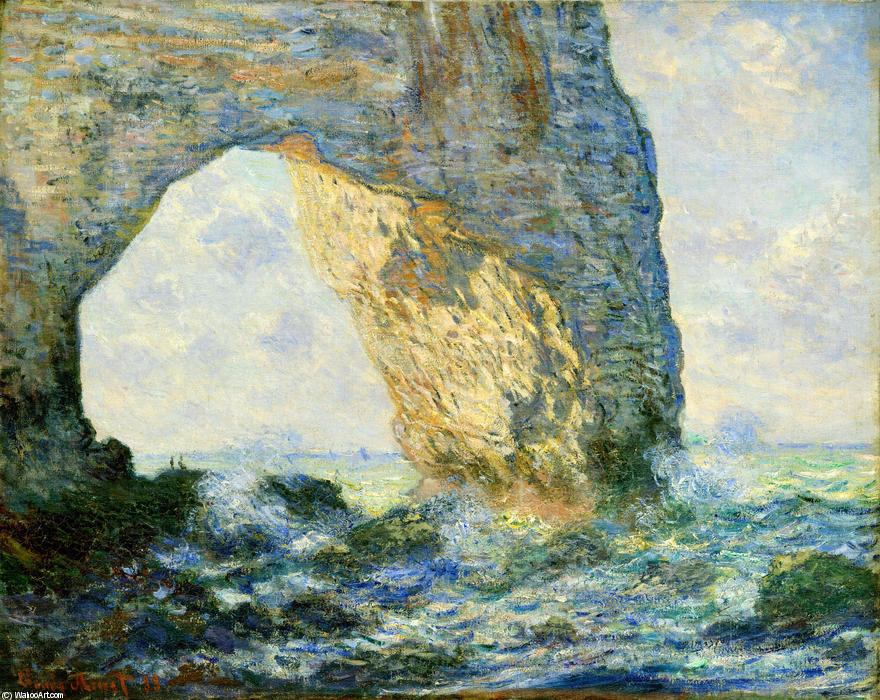 famous painting The Manneport, Rock Arch West of Etretat of Claude Monet