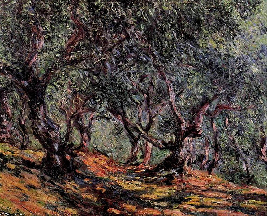 famous painting Olive Trees in Bordigher of Claude Monet