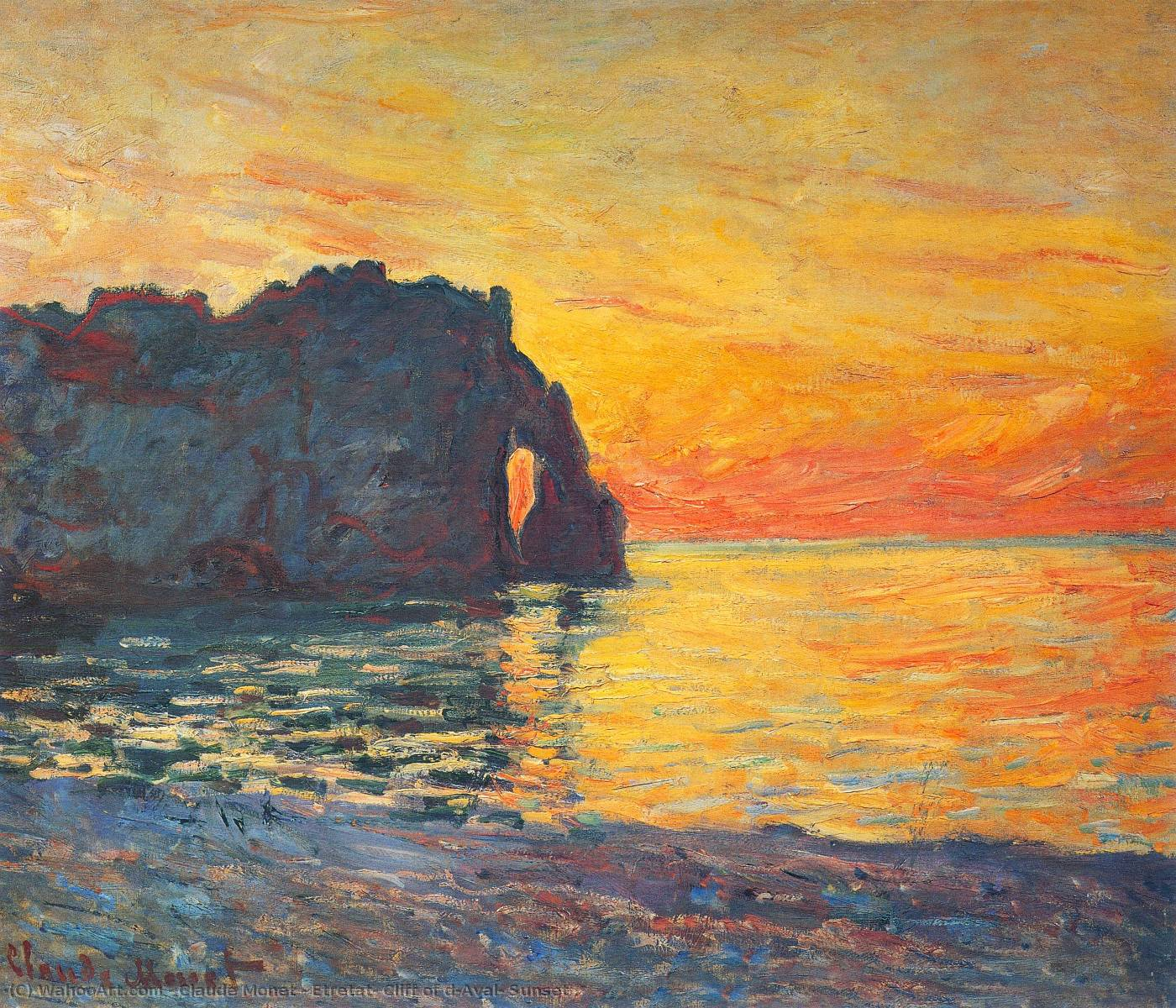 famous painting Etretat, Cliff of d`Aval, Sunset of Claude Monet