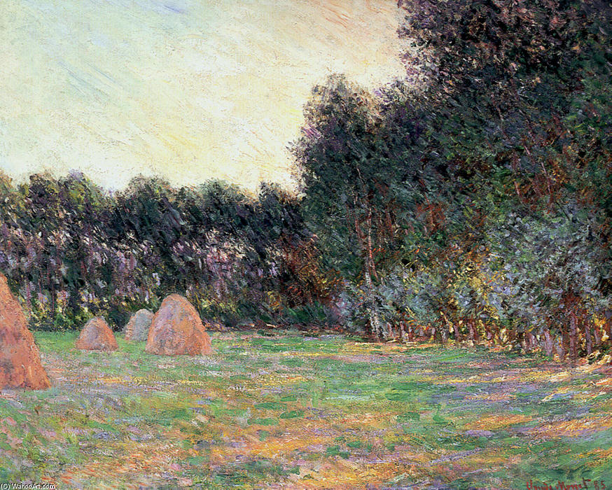famous painting Meadow with Haystacks near Giverny of Claude Monet