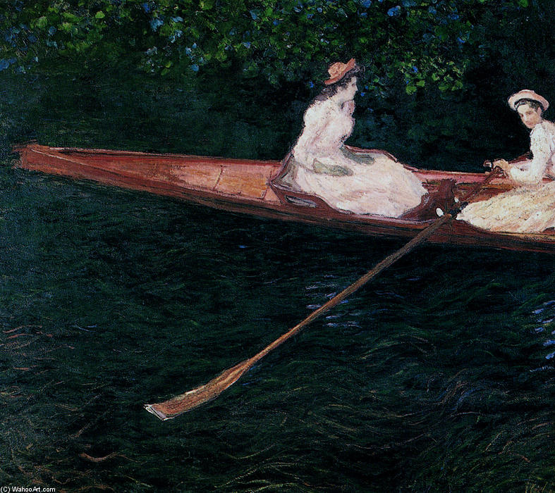 famous painting The Pink Skiff, Boating on the Ept of Claude Monet