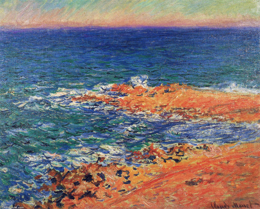 famous painting The Big Blue Sea in Antibes of Claude Monet