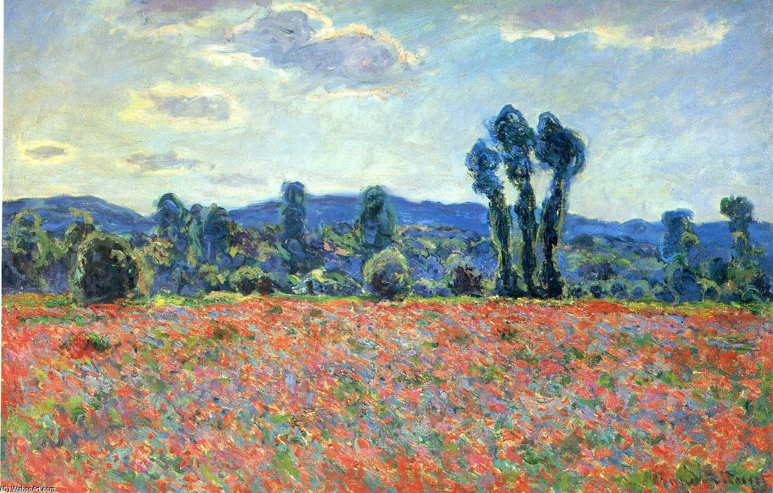 famous painting Poppy Field in Giverny of Claude Monet