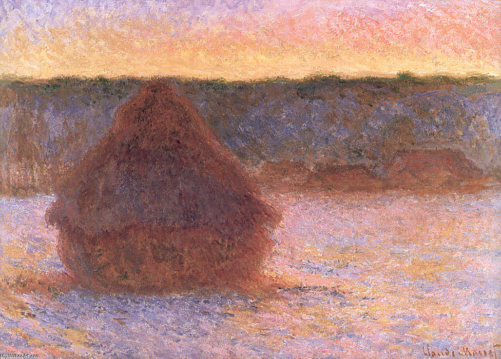Order Reproductions Impressionism | Haystacks at Sunset, Frosty Weather by Claude Monet | TopImpressionists.com