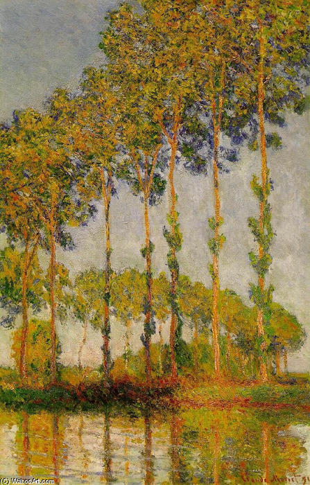 famous painting Poplars, Row in Autumn of Claude Monet