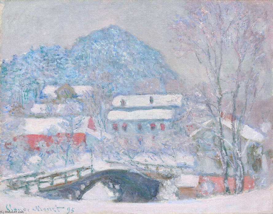 famous painting Norway, Sandviken Village in the Snow of Claude Monet