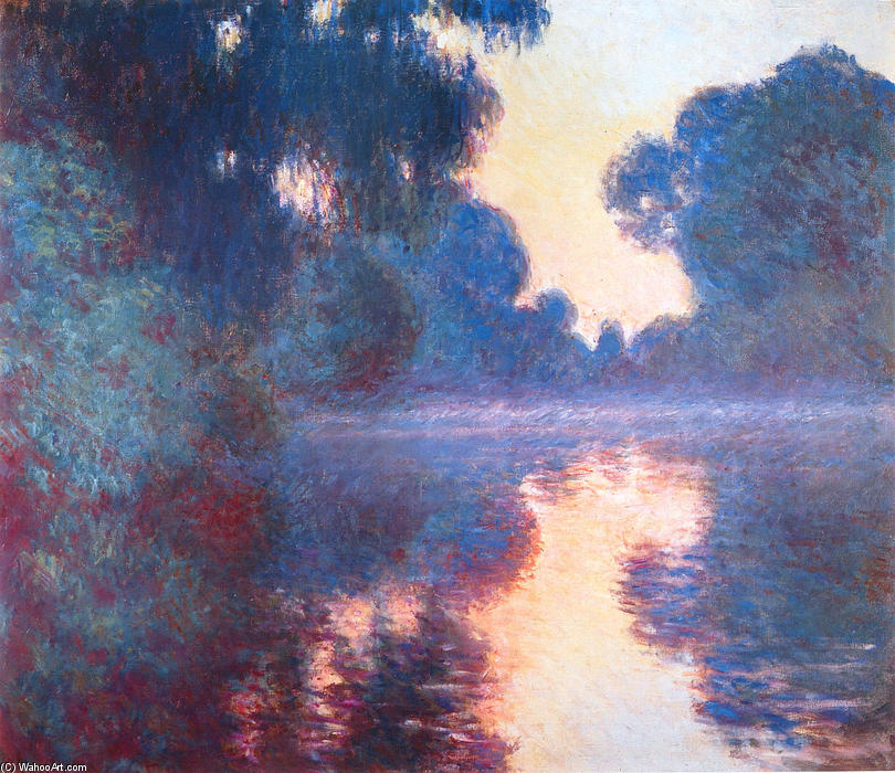famous painting Misty Morning on the Seine in Bue of Claude Monet