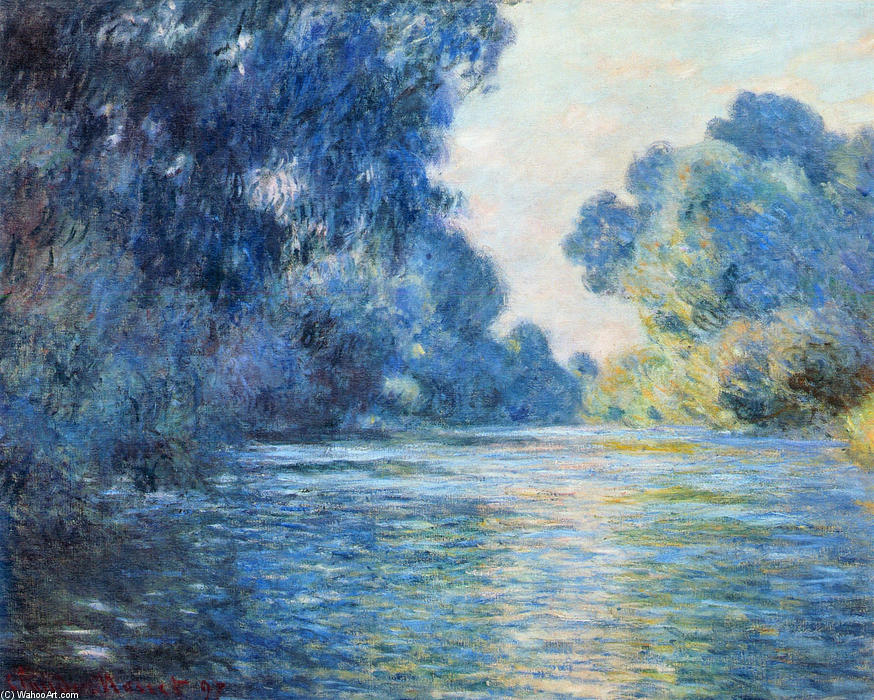 famous painting Morning on the Seine at Giverny 02 of Claude Monet