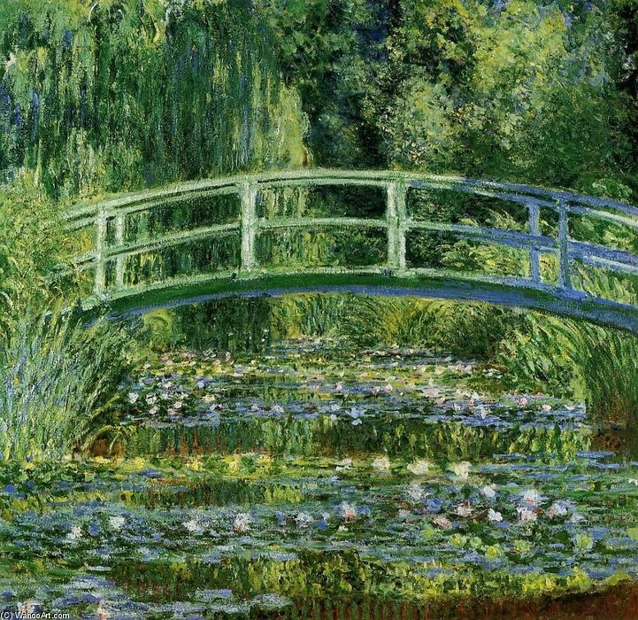 famous painting The Japanese Bridge (The Water-Lily Pond) of Claude Monet