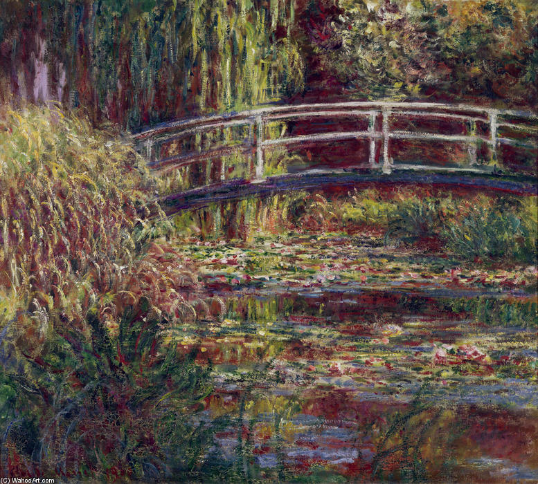 famous painting The Japanese Bridge (The Water-Lily Pond, Symphony in Rose) of Claude Monet