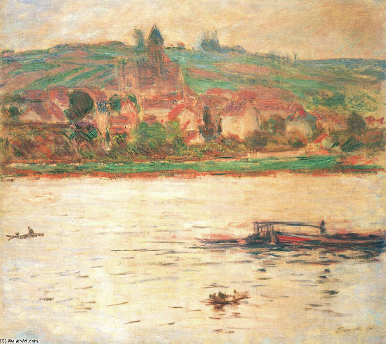 famous painting Vetheuil, Barge on the Seine of Claude Monet