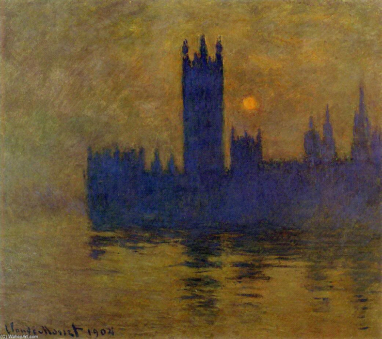 famous painting Houses of Parliament, Sunset 02 of Claude Monet