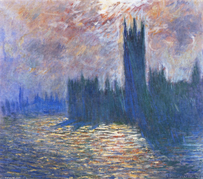famous painting Parliament, Reflections on the Thames of Claude Monet
