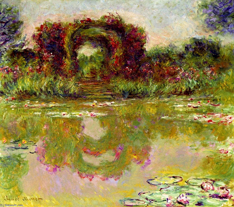 famous painting Rose Arches at Giverny of Claude Monet