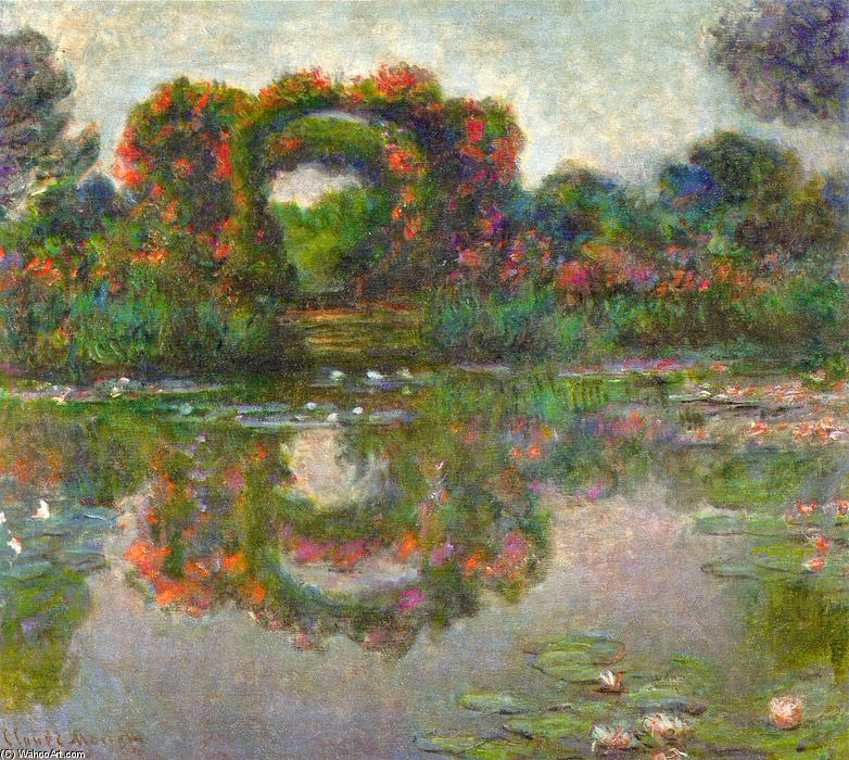 famous painting Rose Flowered Arches at Giverny of Claude Monet