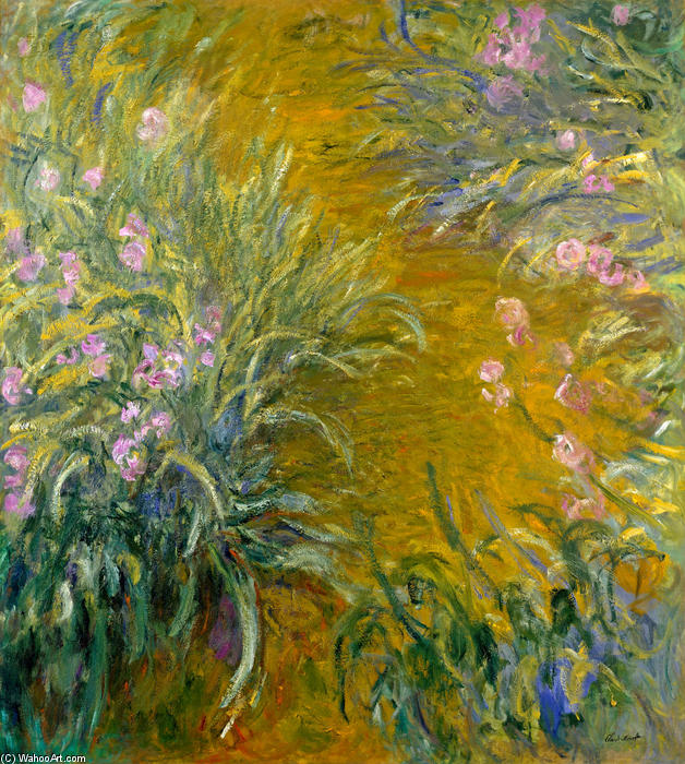 famous painting Path through the Irises 01 of Claude Monet