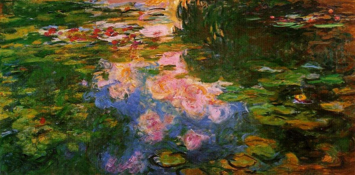 famous painting Water Lily Pond (8) of Claude Monet