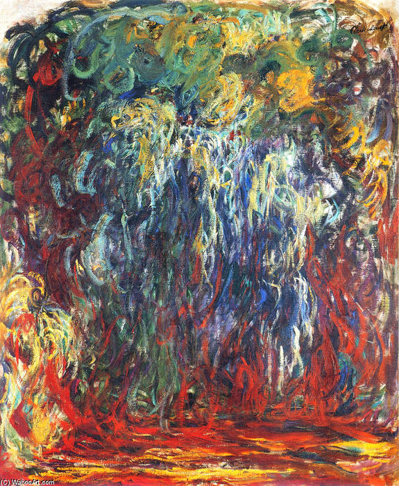 famous painting Weeping Willow, Giverny of Claude Monet
