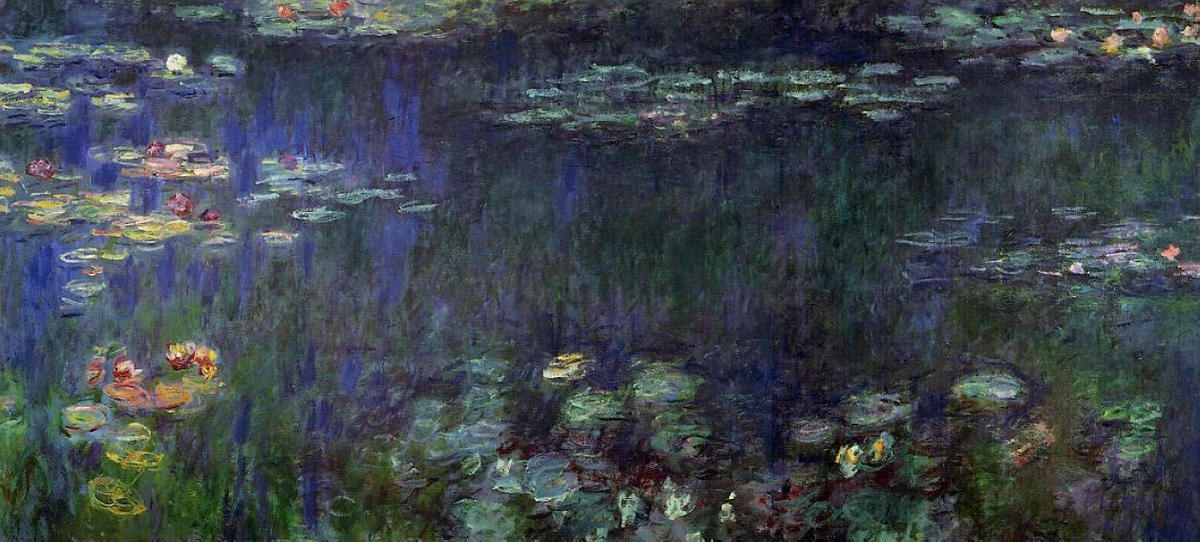 famous painting Water Lilies, Green Reflection (left half) of Claude Monet