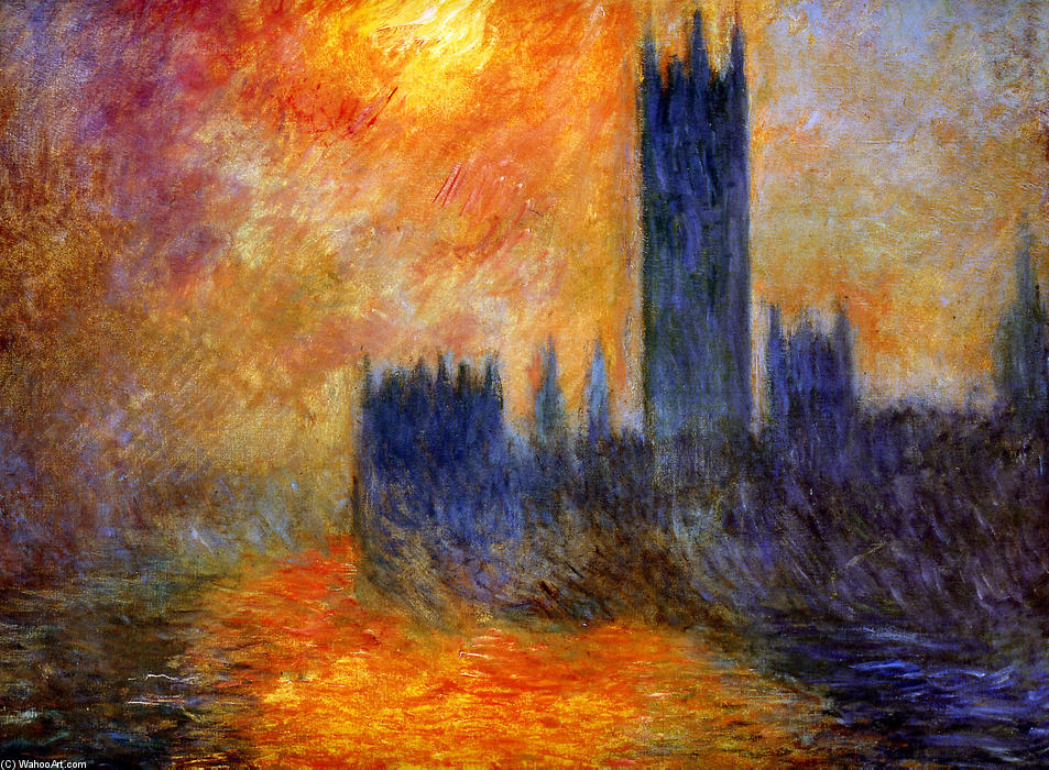 famous painting House of Parliament Sun of Claude Monet