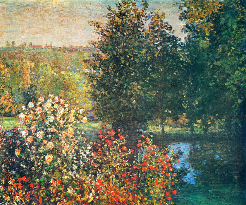 famous painting Roses in the Hoshede`s Garden at Montregon of Claude Monet