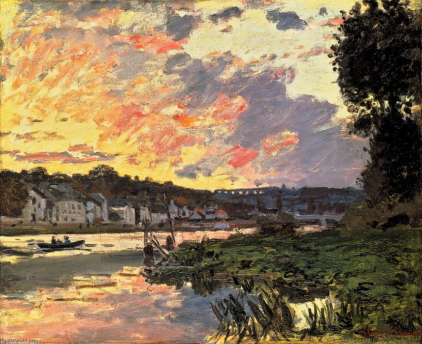 famous painting The Seine at Bougival in the Evening of Claude Monet