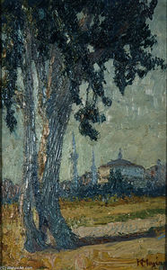 Konstantinos Maleas - Landscape with tree and mosque in the background